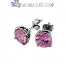 Rvs oorbellen met saffier roze zirkonia.