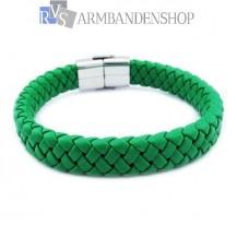 Groene leren armband met rvs accent.