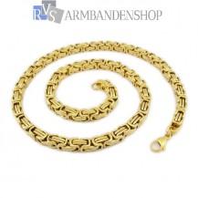 RVS  Gold-color koningsschakel ketting 70 cm.