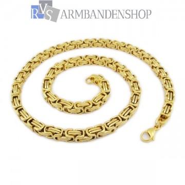 RVS  Gold-color koningsschakel ketting 55 cm.