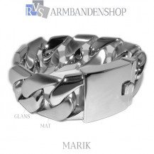"Mat en glans rvs armband geborsteld staal ""Marik""."