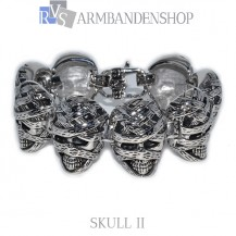 "Rvs bikers armband ""Skull II"" 21 cm."