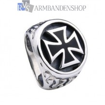 Rvs bikers ring kruis.
