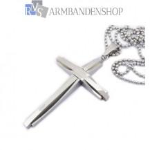 Rvs kruis hanger incl. ketting.