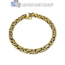 Rvs Gold-color koningsschakel armband.