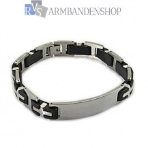 RVS armband met rubber 21 cm.