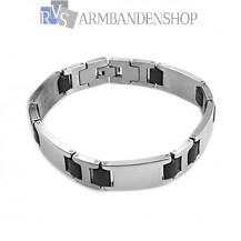 RVS armband met rubber 21.8 cm.