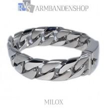 "Mat en glans rvs armband geborsteld staal  ""Milox""."