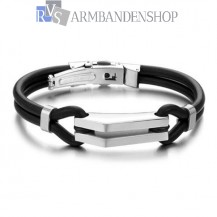 RVS armband met rubber.