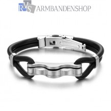 Siliconen armband met rvs accent.