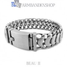 "Matte rvs armband geborsteld staal  ""Beau II""."