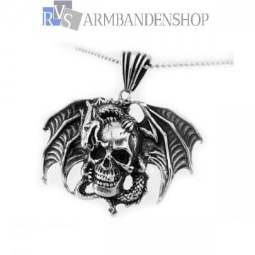 Rvs draak met skull hanger