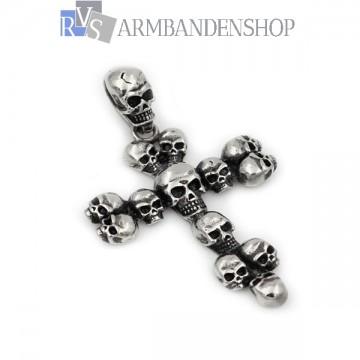 Rvs skull kruis hanger incl. ketting