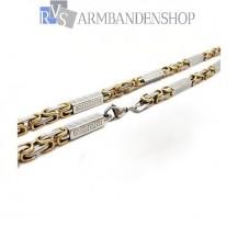 RVS  Bi-color koningsschakel ketting