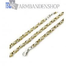 RVS set Bi-color koningsschakel ketting + armband