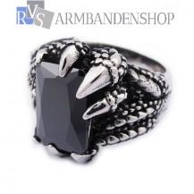 Rvs draken klauw ring met zwarte steen.