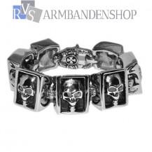 "Rvs bikers armband "" Skull "" 21 cm."