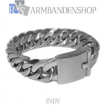 """Matte rvs armband geborsteld staal """"Indy""""."""
