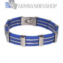 RVS armband donker blauw.