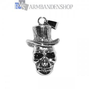 Rvs skull hanger met hoed