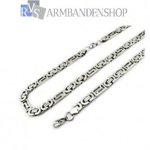 RVS sieradenset platte koningsschakel ketting + armband.